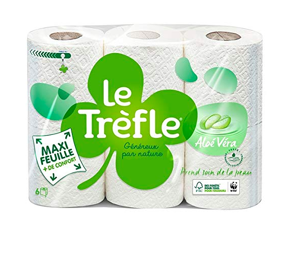 Papier toilette Aloe Vera, Le Trèfle (x 6)