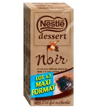 Chocolat noir 52% à pâtisser, Nestlé dessert LOT DE 3 (3 tablettes x 205 g)
