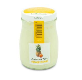 Yaourt à l'ancienne aux fruits ananas orange, Beillevaire (180 g)