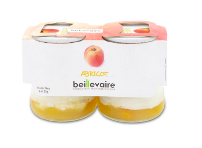 Yaourt aux fruits abricot BIO, Beillevaire (x 2)