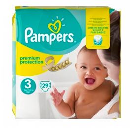 Couches premium protection T3 / 5-9kg, Pampers (x 29)