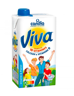 Lait demi-écrémé calcium et vitamine D,  Candia (1 L)