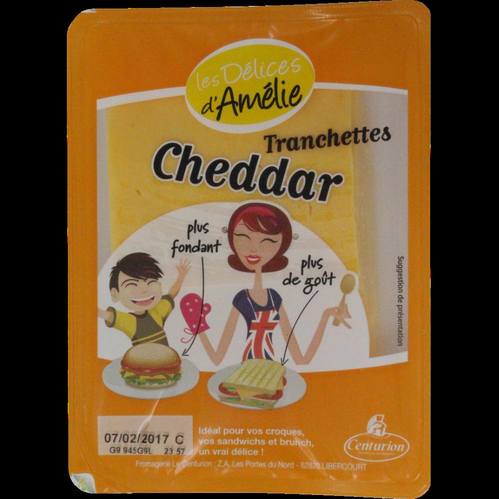 Cheddar en tranches pasteurisé, Les délices d'Amélie (200 g)