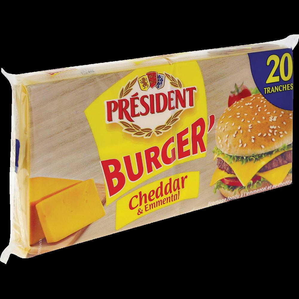 Cheddar et emmental Burger en tranches, Président (x 20, 340 g)