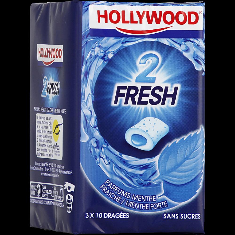 Chewing-gum dragées 2 Fresh Menthe fraîche et forte, Hollywood (3 boites de 10 dragées)