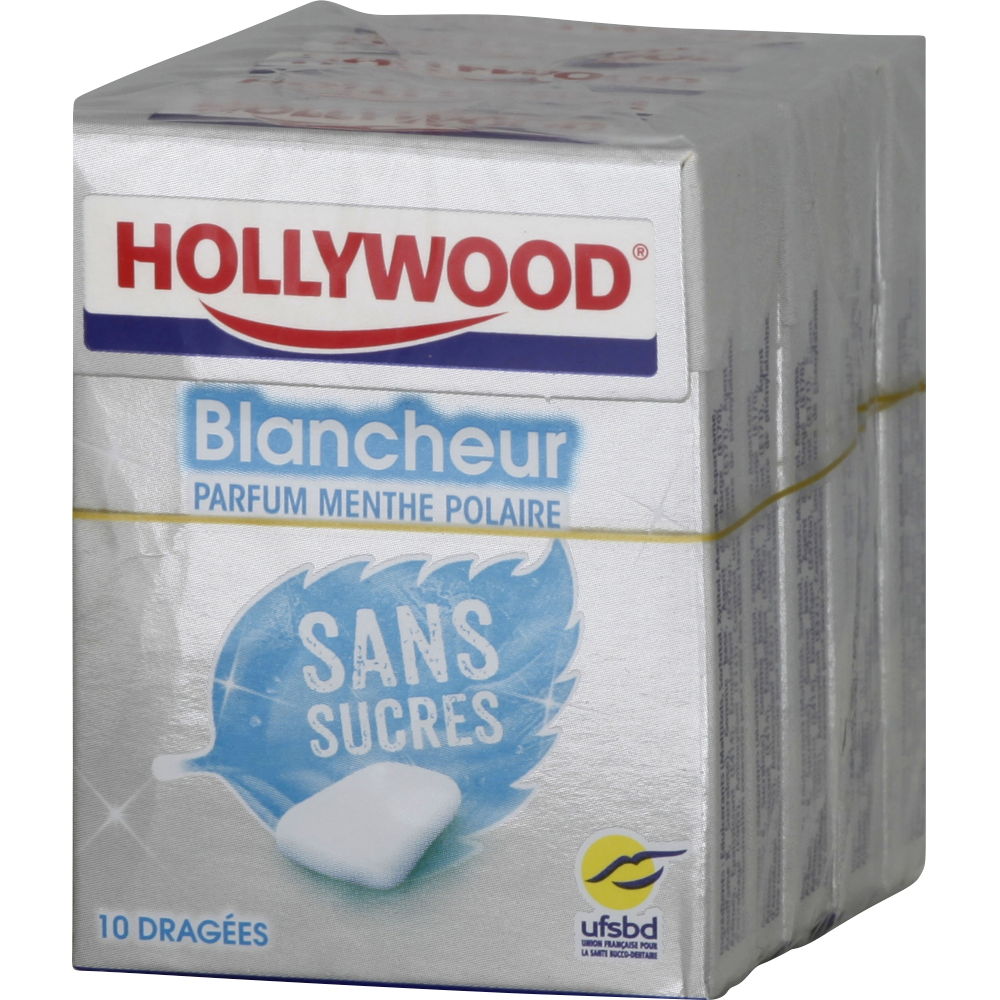 Chewing-gum dragées sans sucre Blancheur menthe polaire, Hollywood (5 étuis de 10 dragées)
