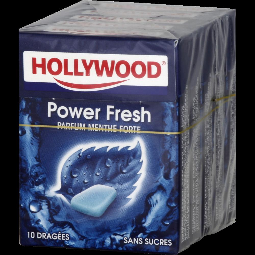 Chewing-gum dragées sans sucre Powerfresh, Hollywood (5 étuis de 10 dragées)