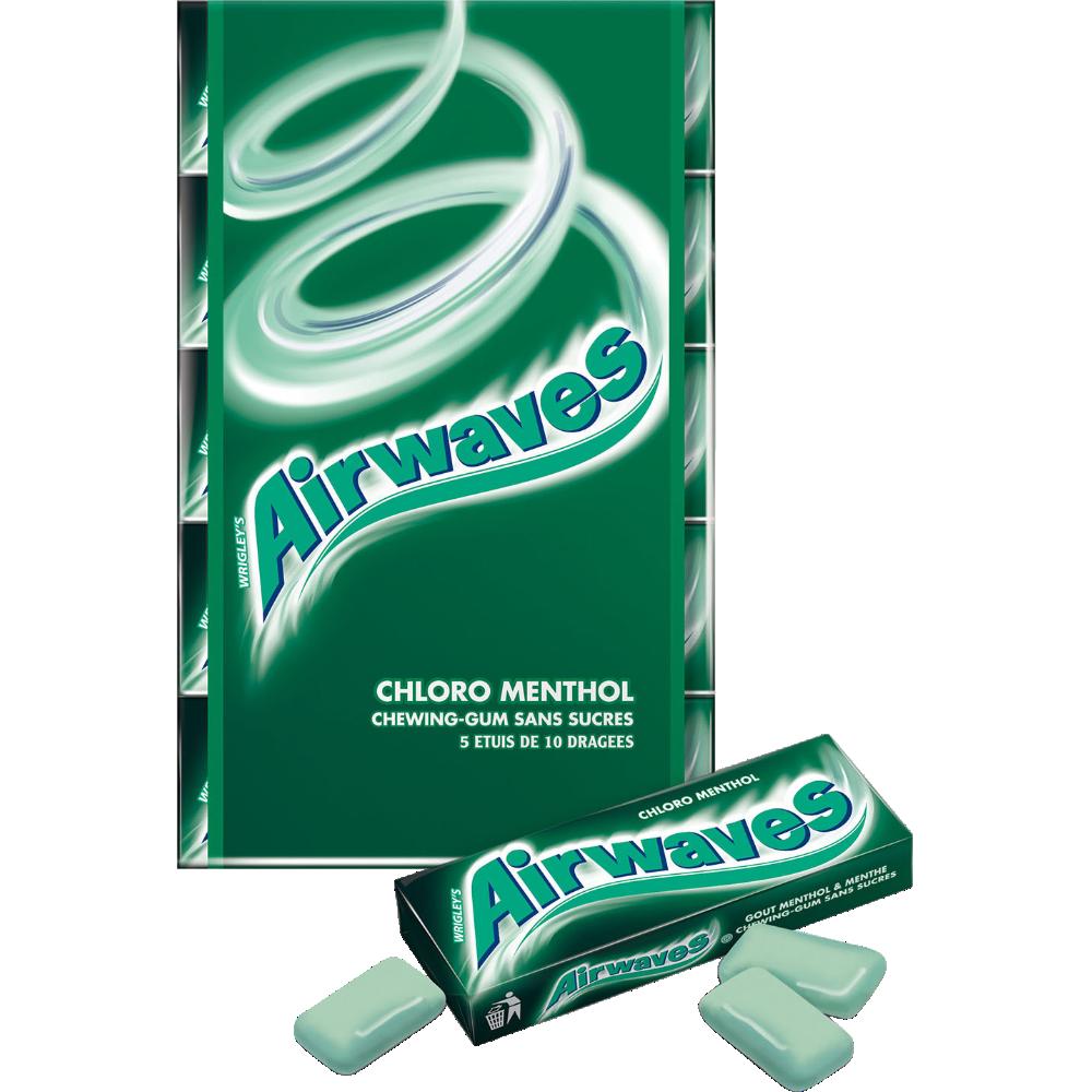 Chewing-gum sans sucre Chlorophylle menthol, Airwaves (5 étuis de 10 dragées)