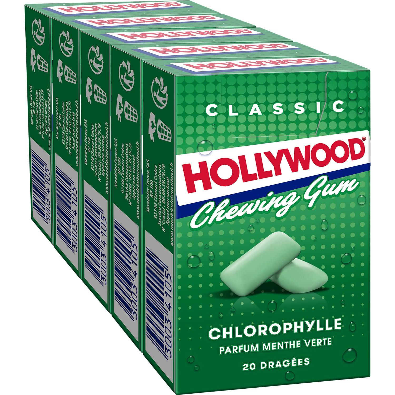 Chewing Gum chlorophylle sans sucre, Hollywood (5 x 20 dragés)