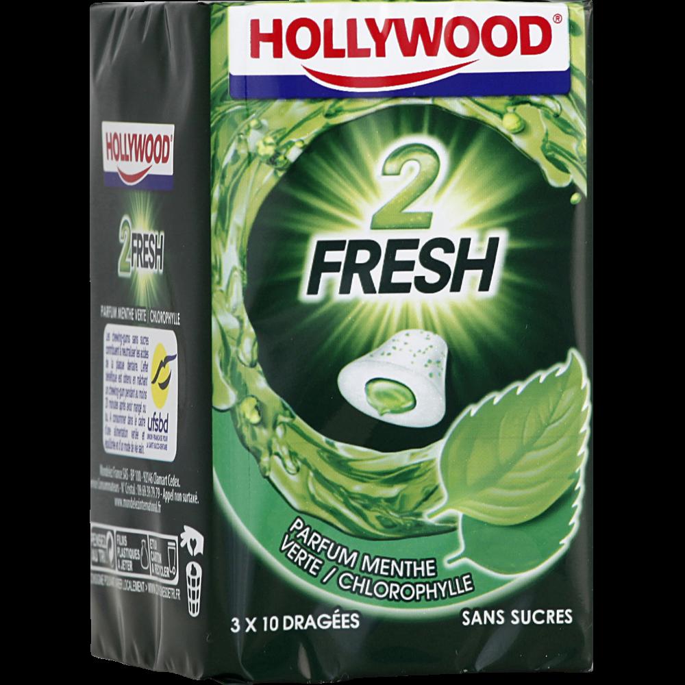 Chewing gum dragées 2 Fresh Menthe Verte/chlorophylle, Hollywood (3 boites de 10 dragées)