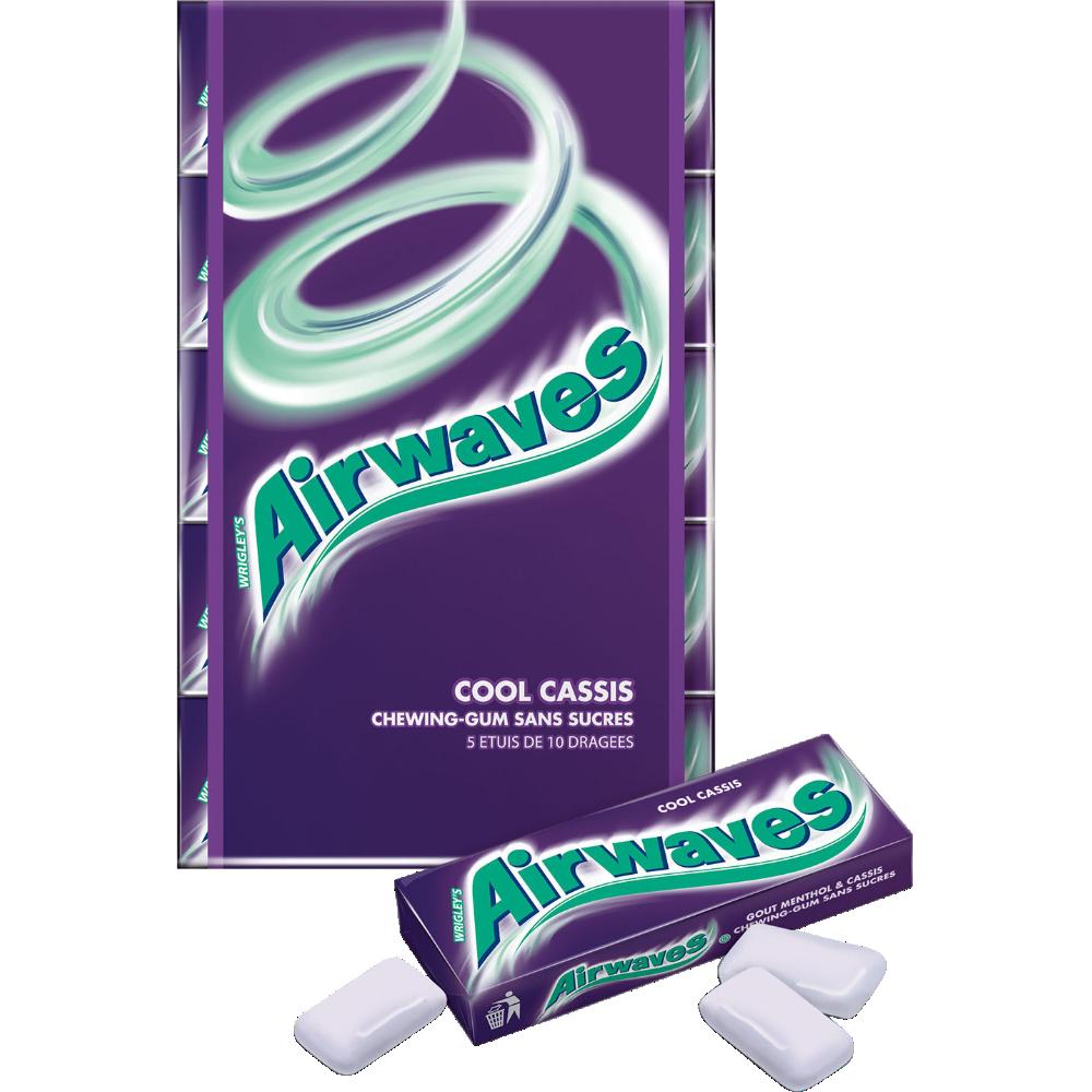 Chewings gum sans sucre Cool Cassis, Airwaves (5 étuis de 10 dragées)