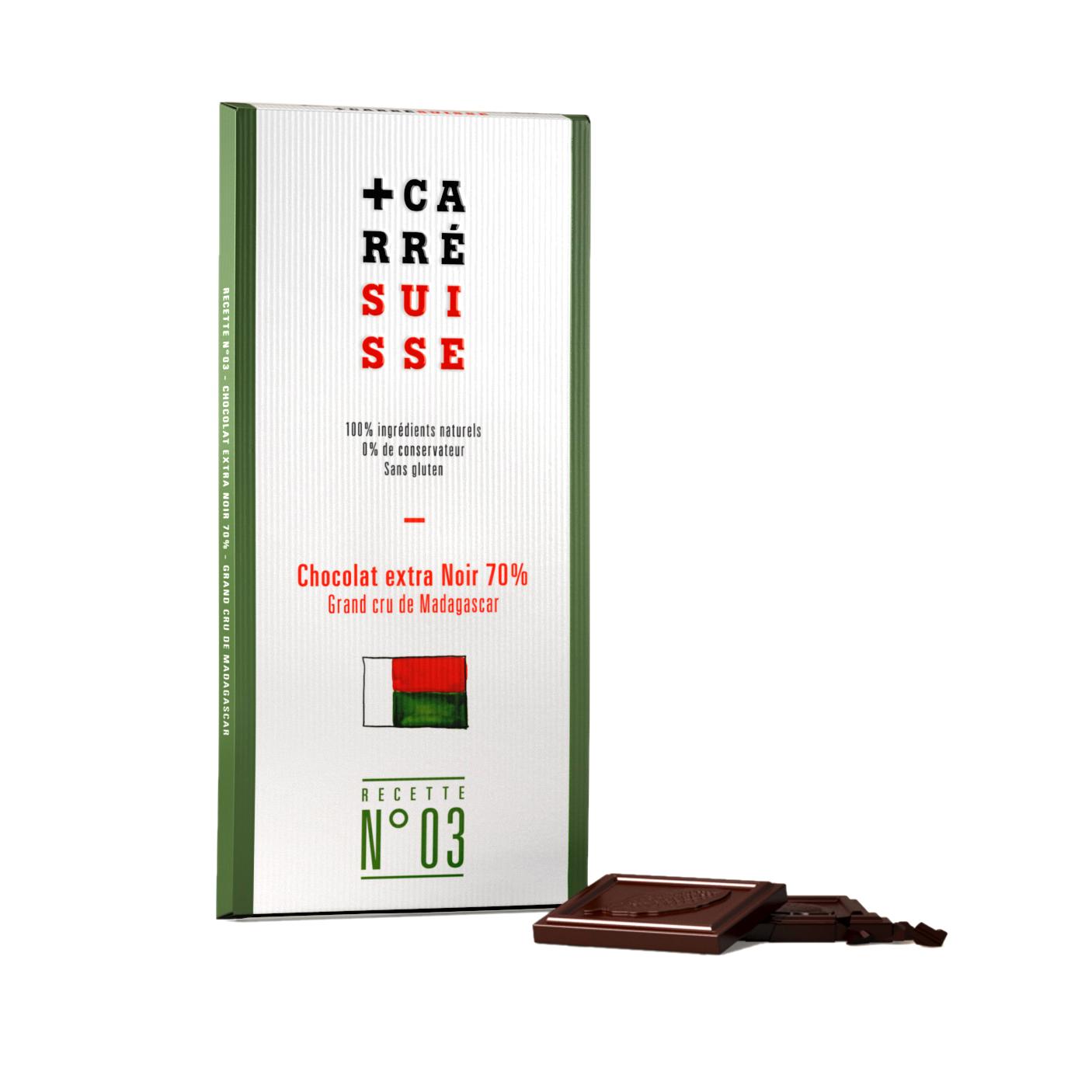 Chocolat extra noir de Madagascar 70%, Carré Suisse (100 g)