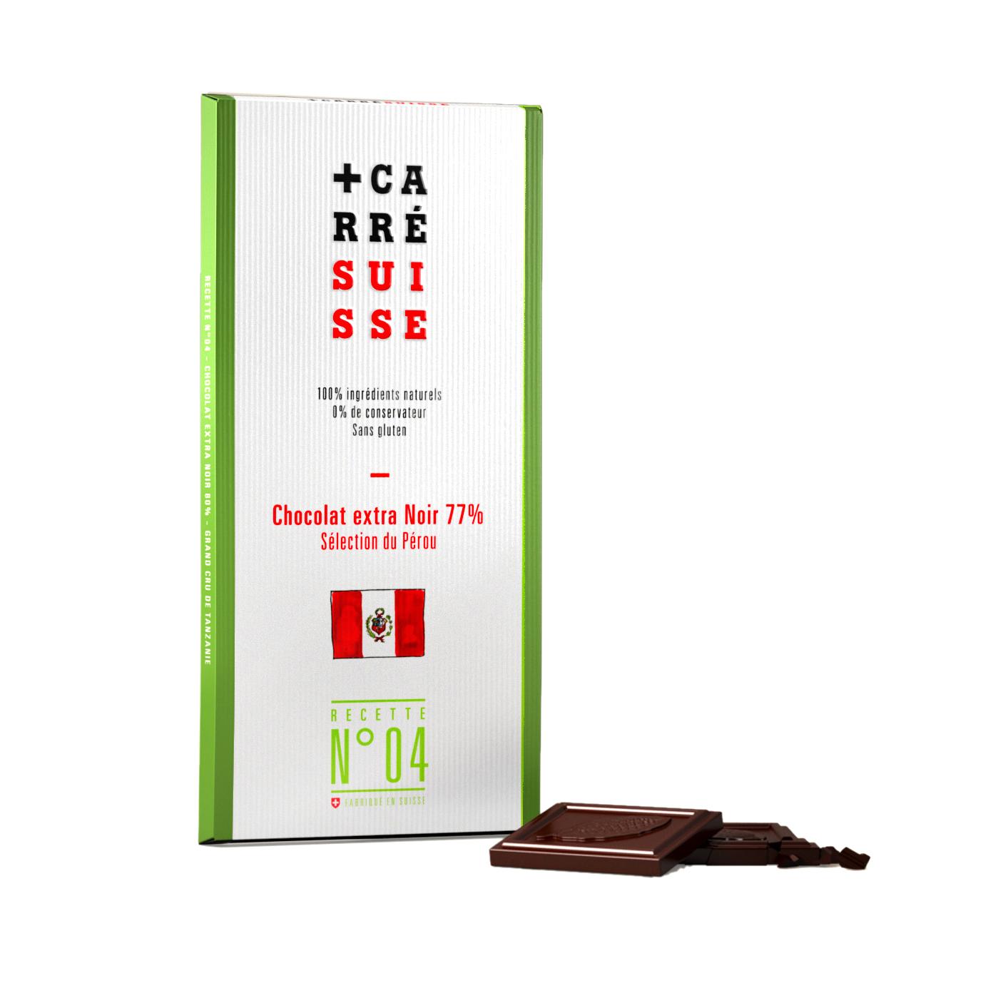 Chocolat extra noir du Pérou 77%, Carré Suisse (100 g)