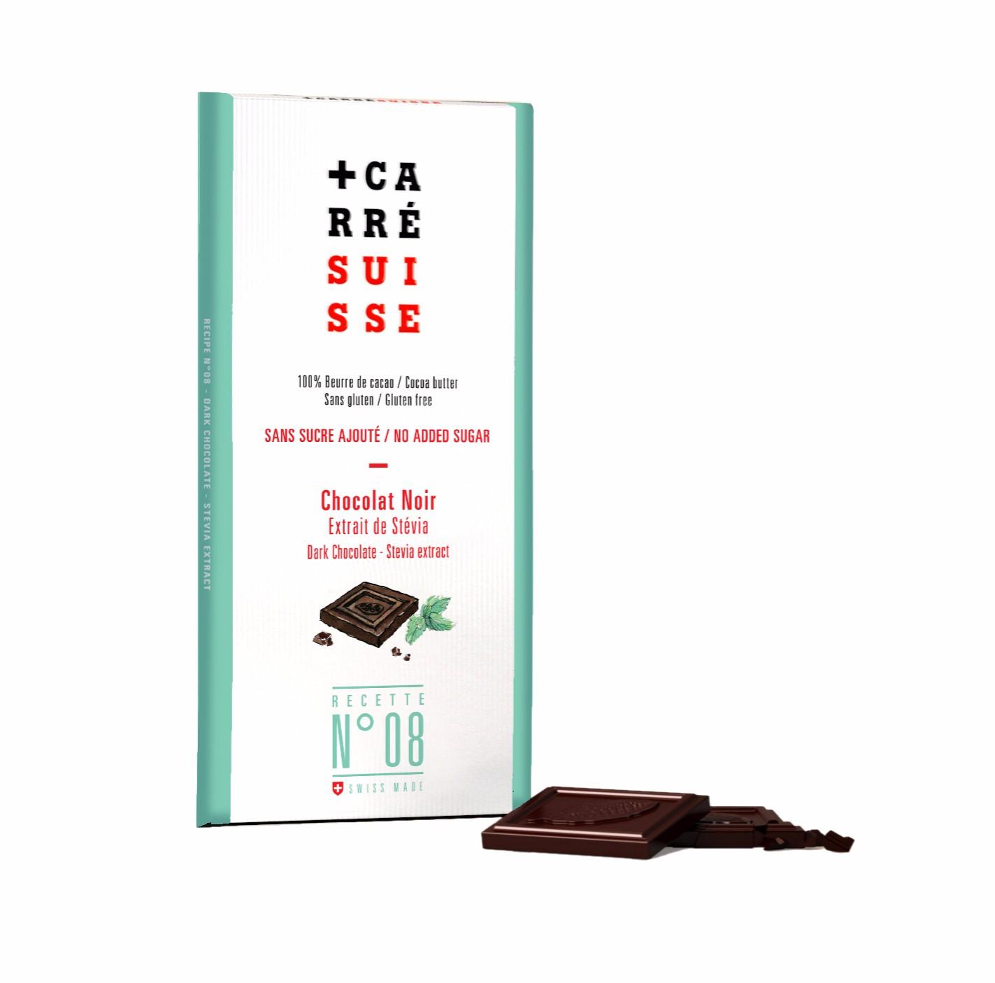 Chocolat noir à l'extrait de stévia, Carré Suisse (100 g)