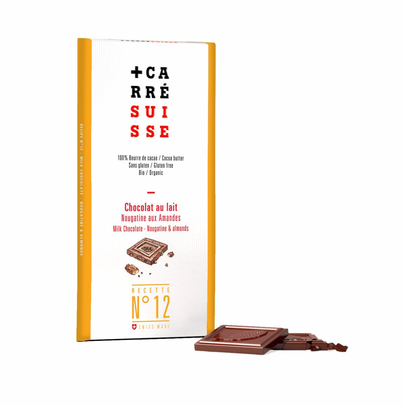 Chocolat au lait nougatine & amandes BIO, Carré Suisse (100 g)