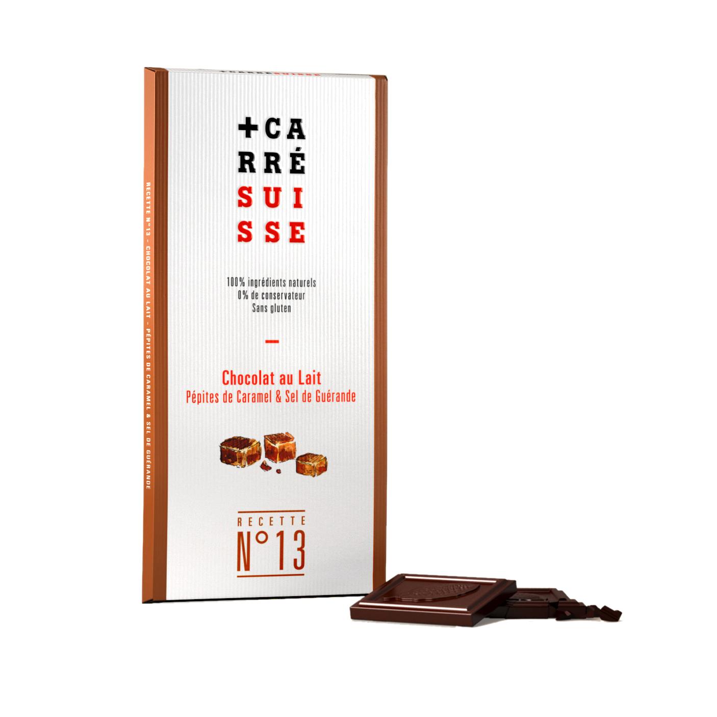 Chocolat au lait aux pépites de caramel & sel de Guérande, Carré Suisse (100 g)