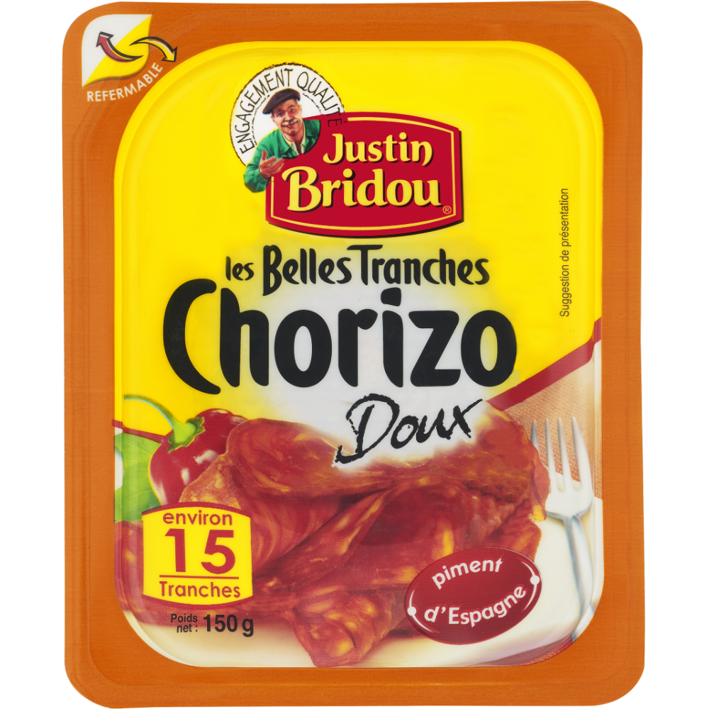 Chorizo doux, Justin Bridou (15 tranches, 150 g)