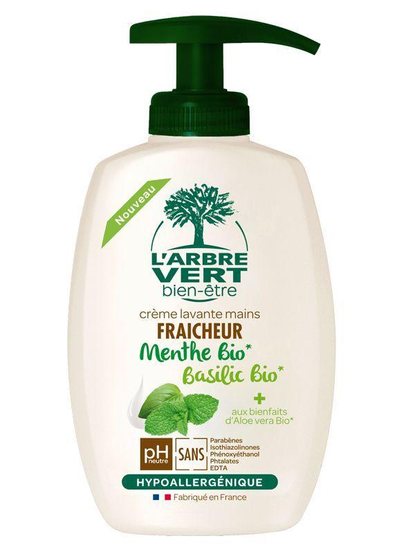 Pompe crème lavante menthe & basilic BIO, L'Arbre Vert (300 ml)