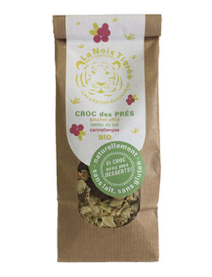 Croc des prés (Souchet effilé, herbe de blé, canneberges) BIO, La noix tigrée (120 g)