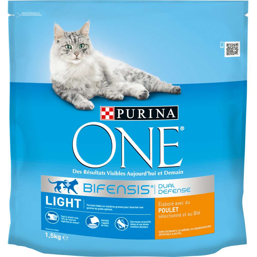 Croquettes pour chats adultes Light au poulet et au blé, Purina One (1,5 kg)