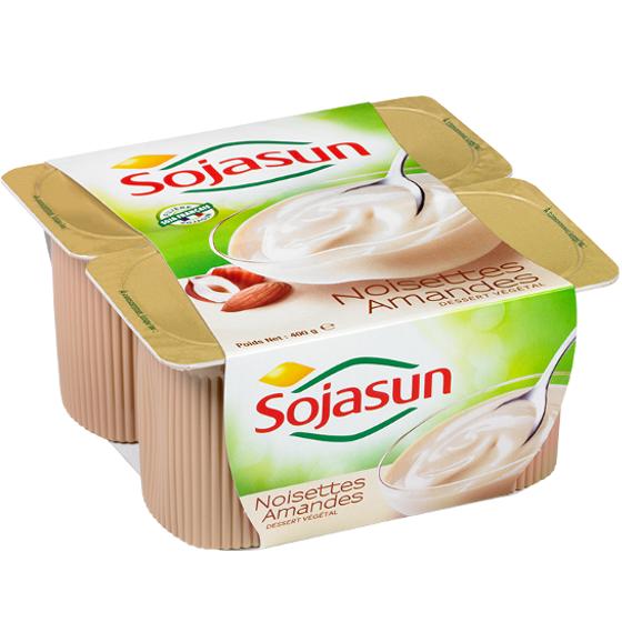Yaourt aux amandes et aux noisettes, Sojasun (4 x 100 g)