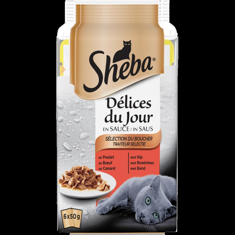 Délices du jour pour chat sélection viandes, Sheba (6 x 50 g)