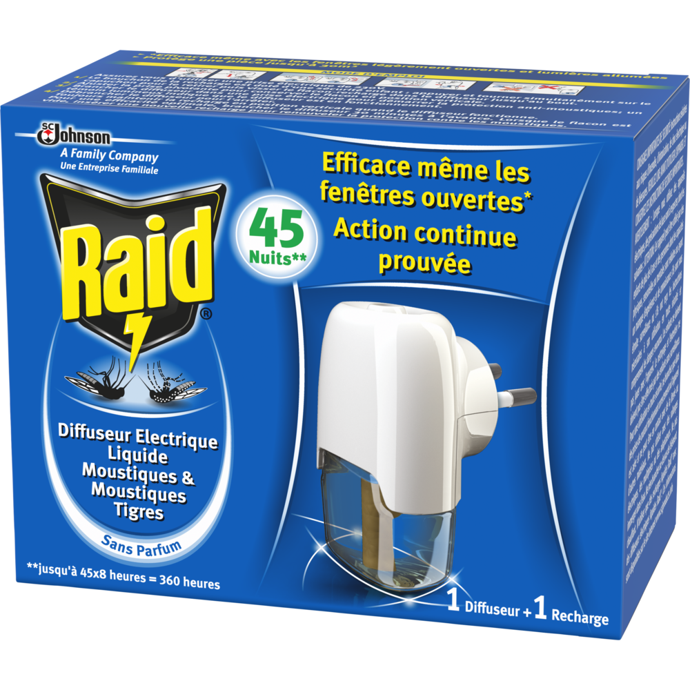 Diffuseur électrique + recharge liquide Fenêtres ouvertes 45 Nuits, Raid