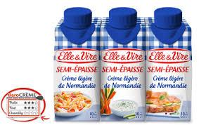 Crème fraîche semi épaisse 4% MG, Elle & Vire (3 x 20 cl)