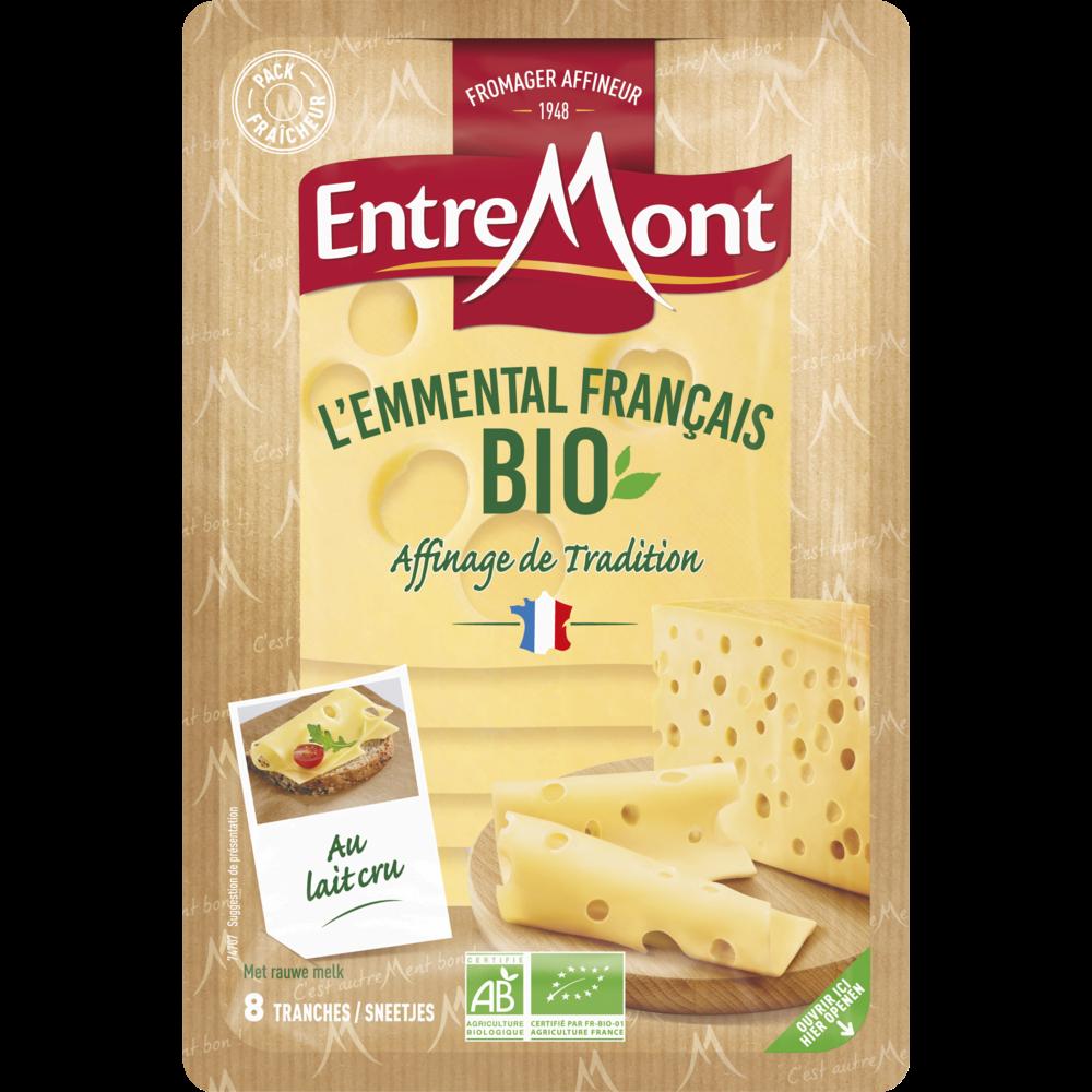 Emmental en tranches au lait cru BIO, Entremont (8 tranches, 120 g)