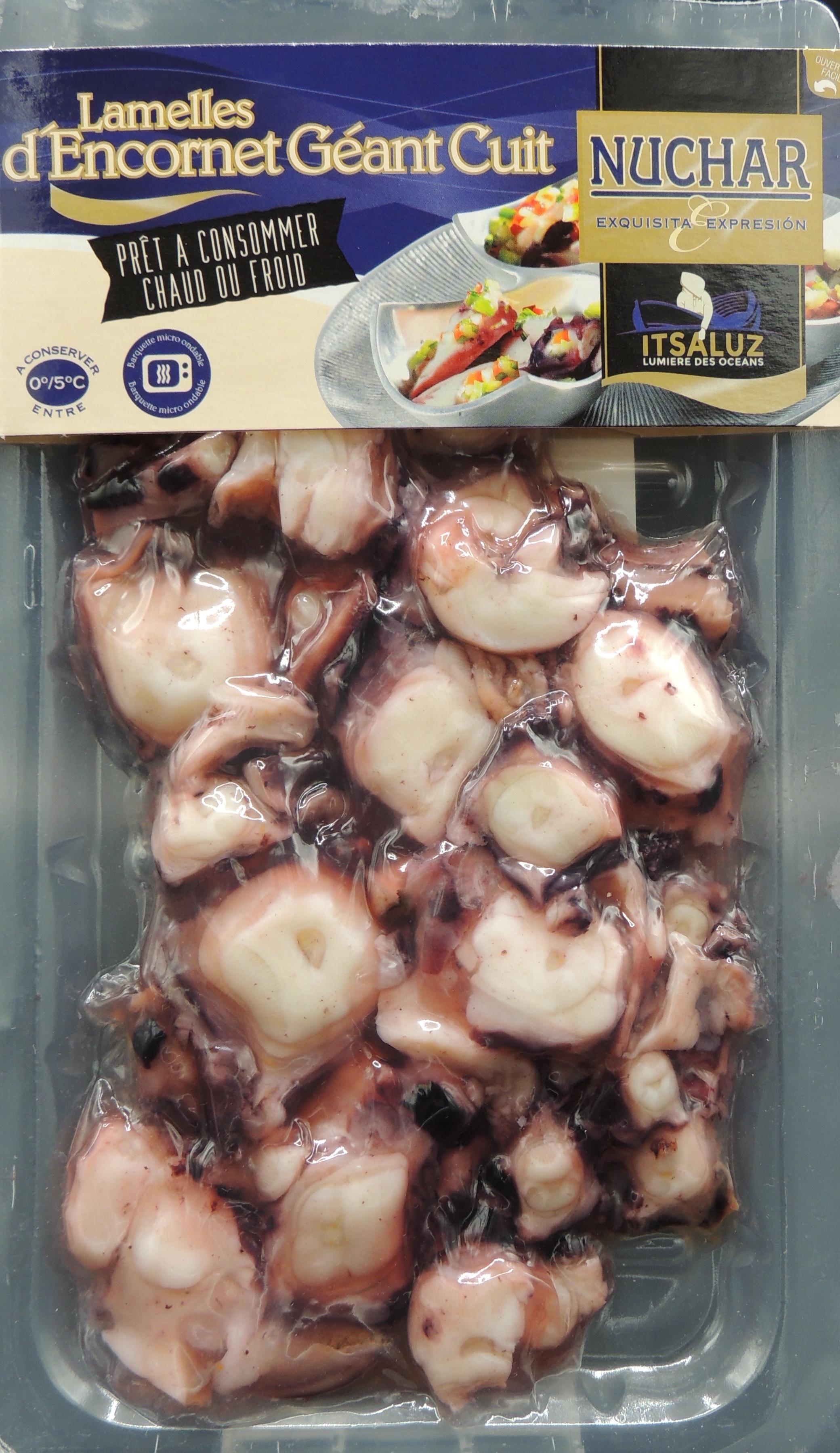 Encornet géant cuit coupe lamelles de tentacules, Nuchar (200 g)
