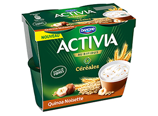 Yaourt Quinoa noisettes Activia (4 x 120 g)