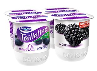 Yaourt Taillefine mûres, myrtilles 0%, Danone (4 x 125 g)