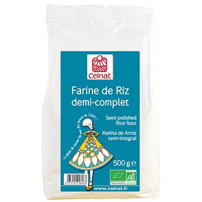 Farine de riz demi-complet BIO, Celnat (500 g)