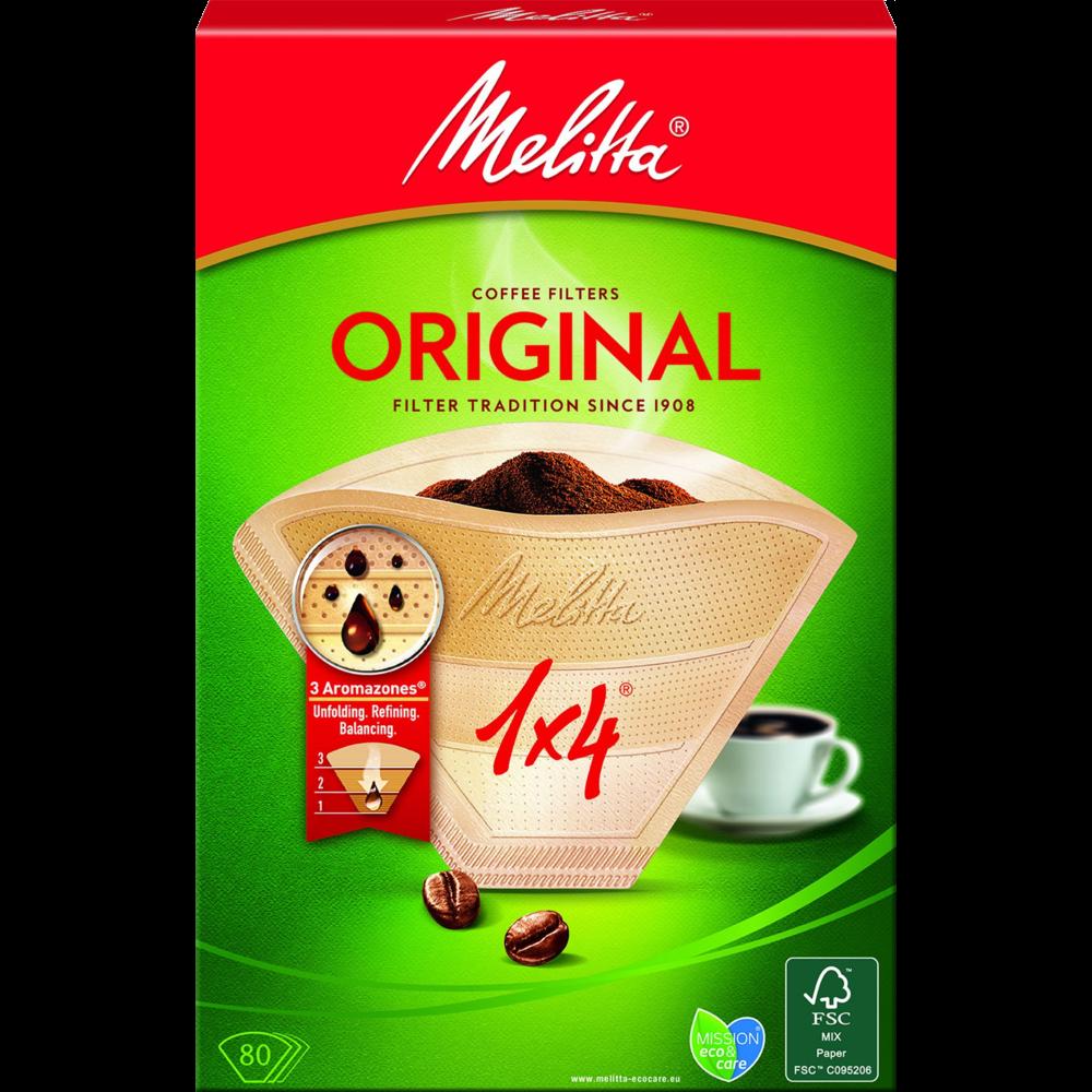 Filtres à café 1x4 bruns, Melitta (x 80)