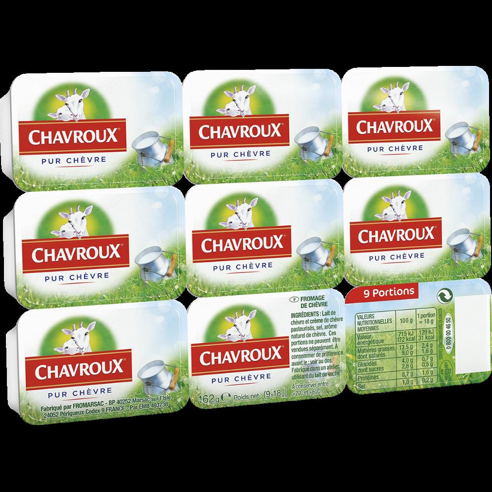 Fromage au lait de chèvre en portions, Chavroux (9 x 18 g)
