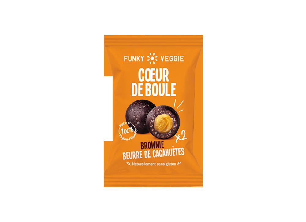 Coeur de boule Brownie beurre de cacahuète, Funky Veggie (x 2, 44 g)