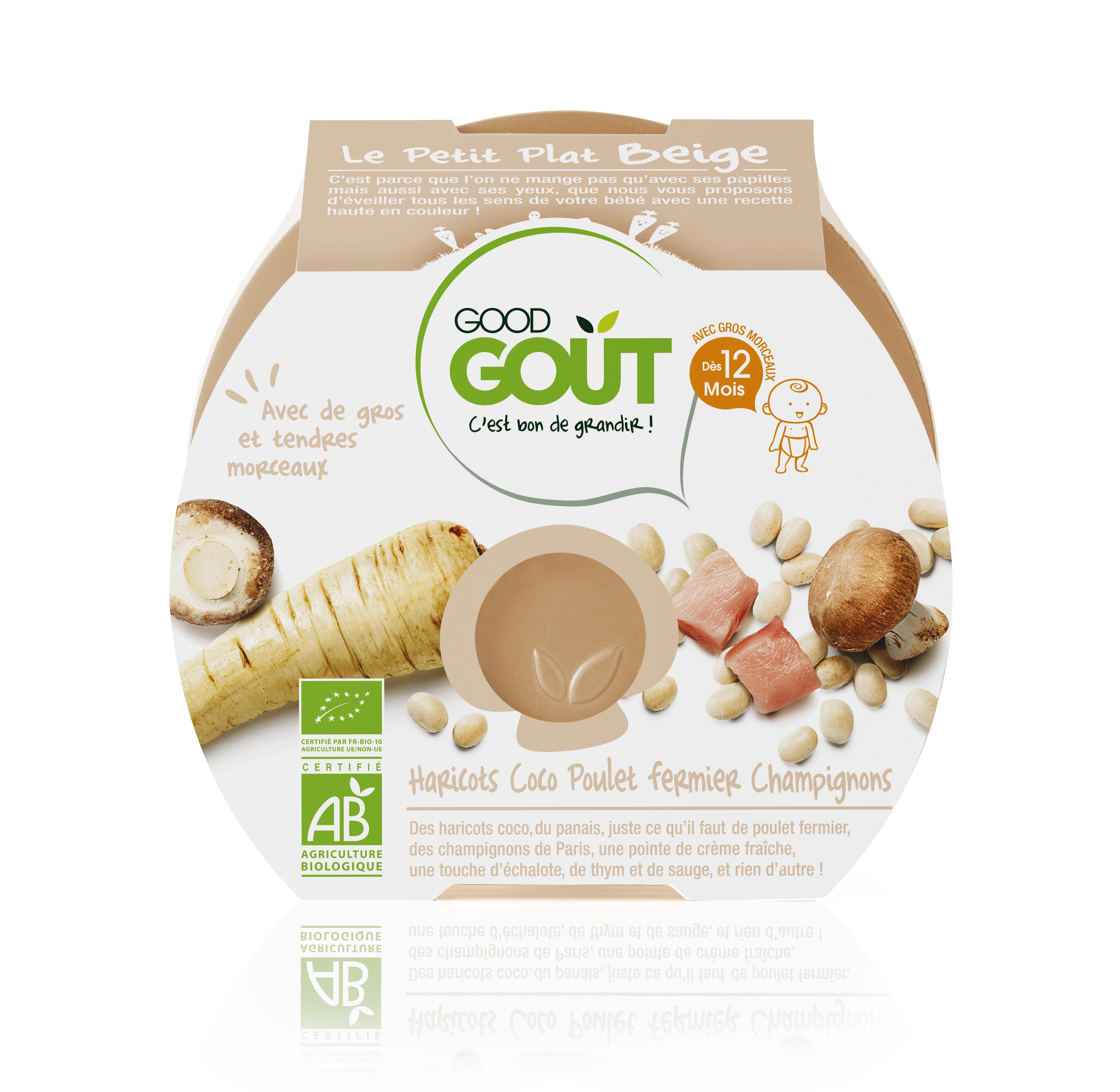 Le petit plat beige : haricots coco poulet fermier, champignons BIO - dès 12 mois, Goog Goût (220 g)