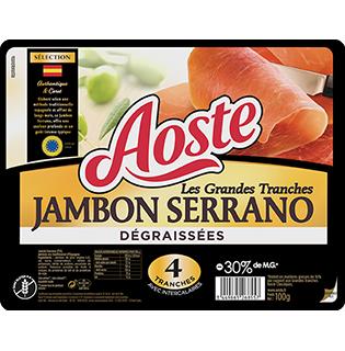 Grandes tranches de jambon cru dégraissées, Aoste (4 tranches, 100 g)