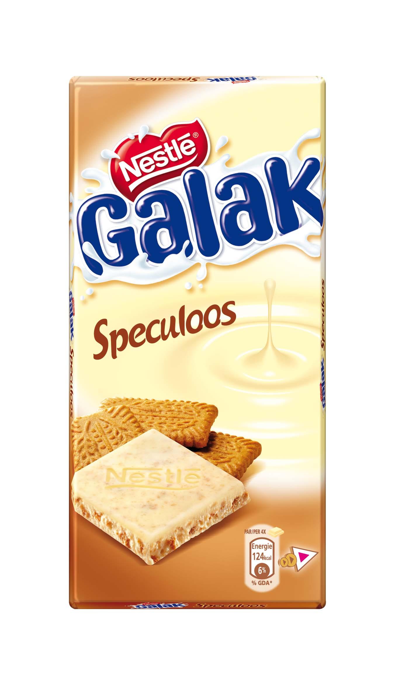 Chocolat blanc au spéculoos Galak, Nestlé (100 g)