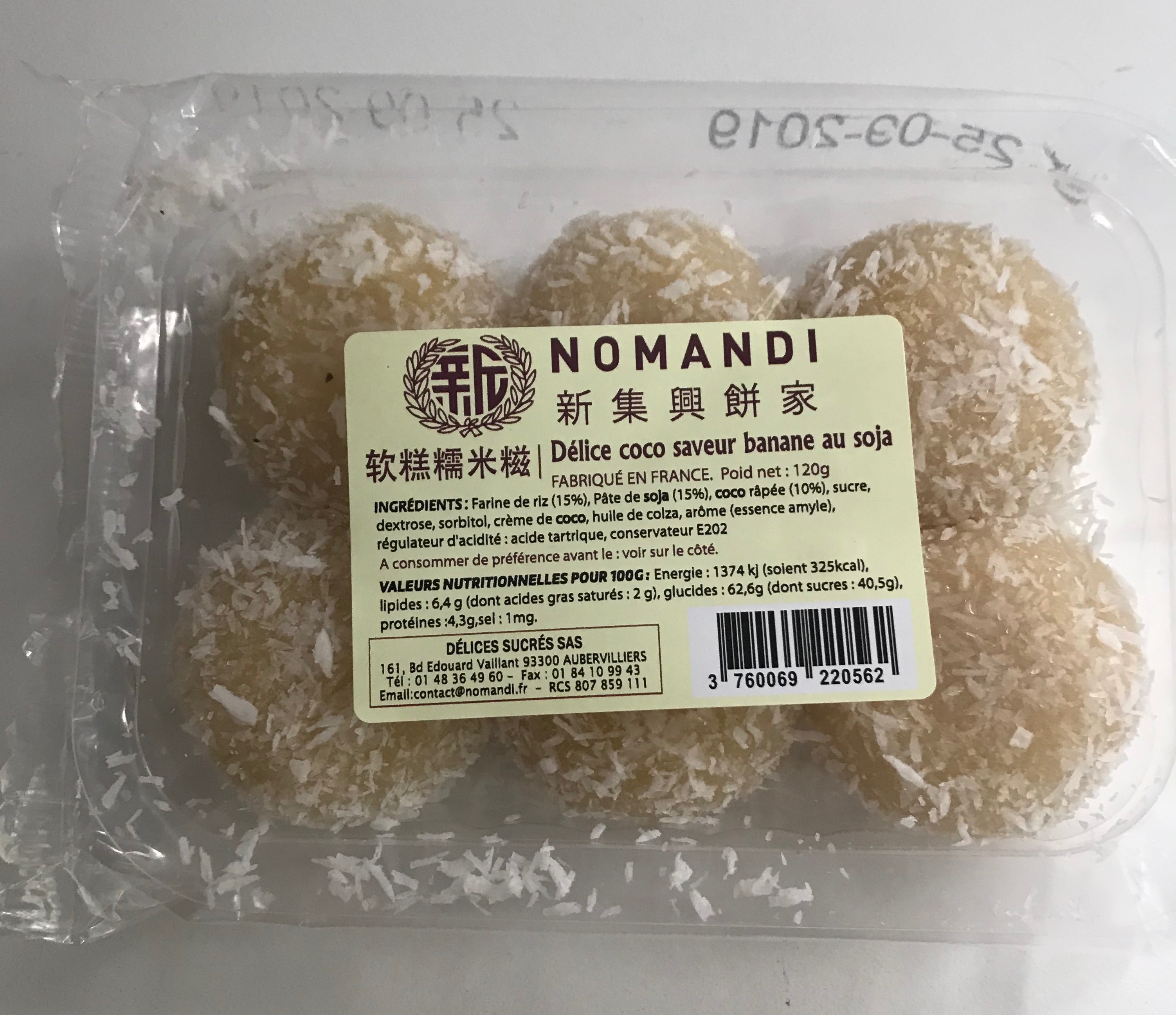 Délice coco saveur banane au soja, Nomandi (120 g)