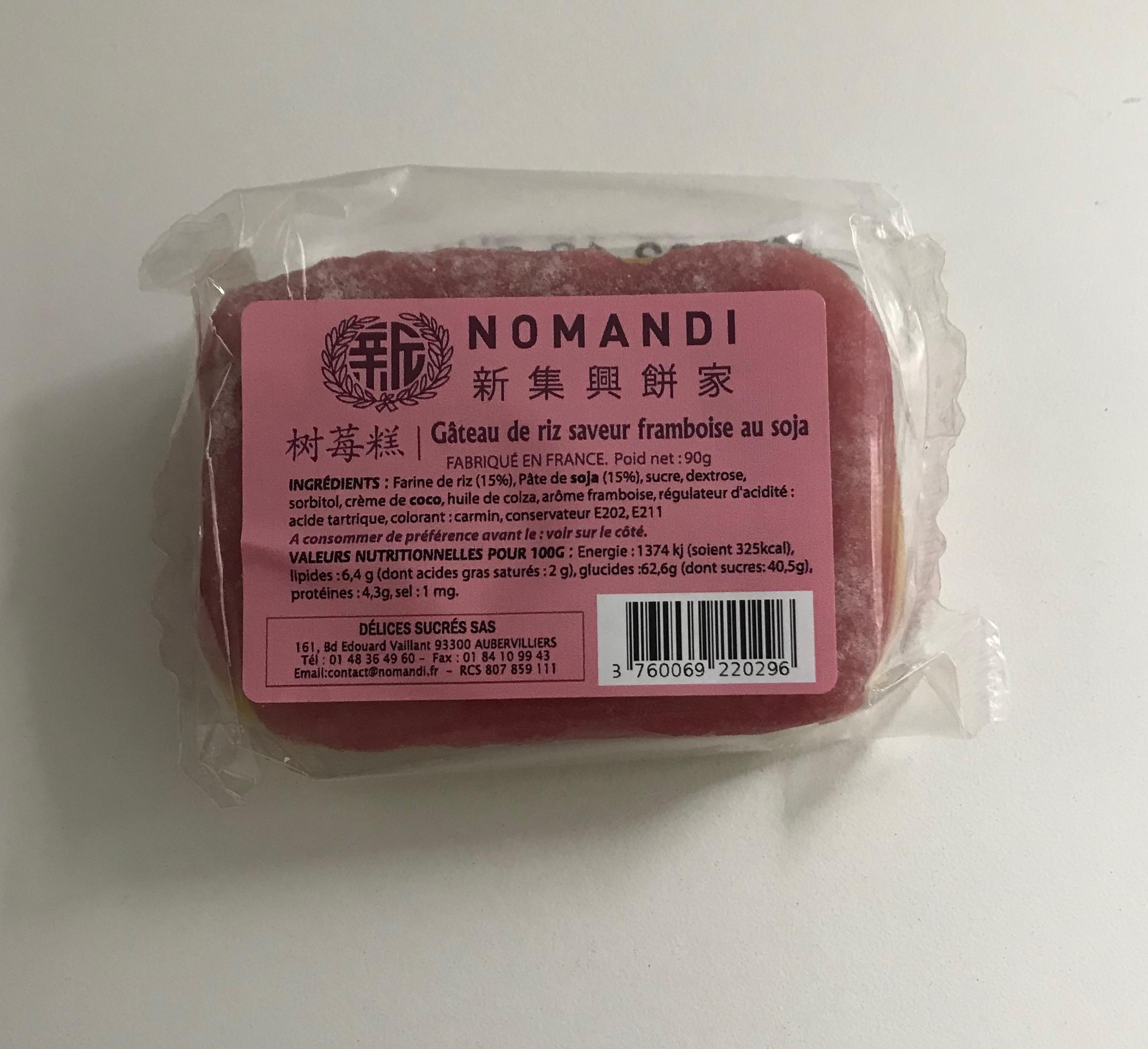 Gateau de riz saveur framboise au soja, Nomandi (90 g)