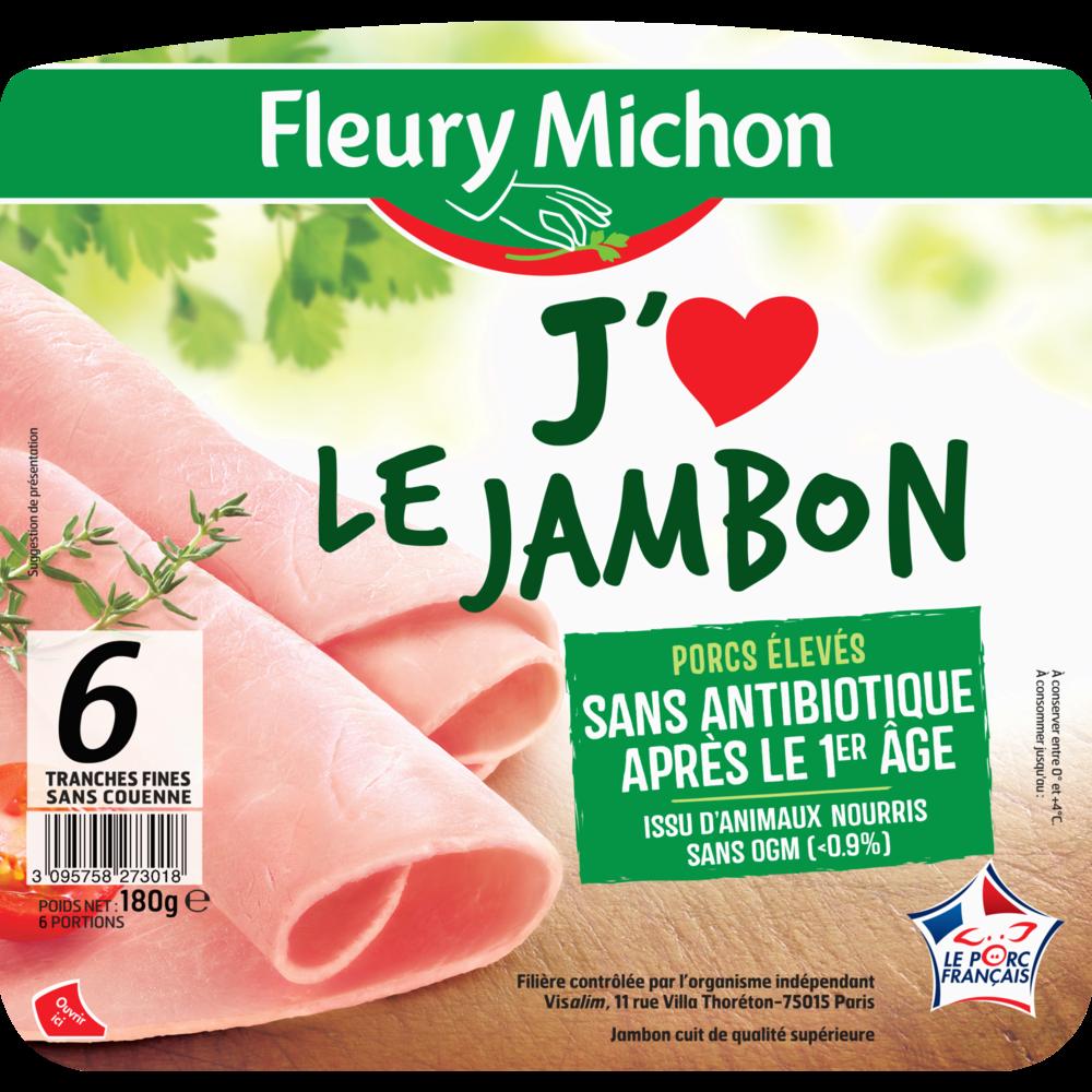 """Jambon """"J'aime le Jambon"""" sans antibiotique, Fleury Michon (6 tranches, 180 g)"""