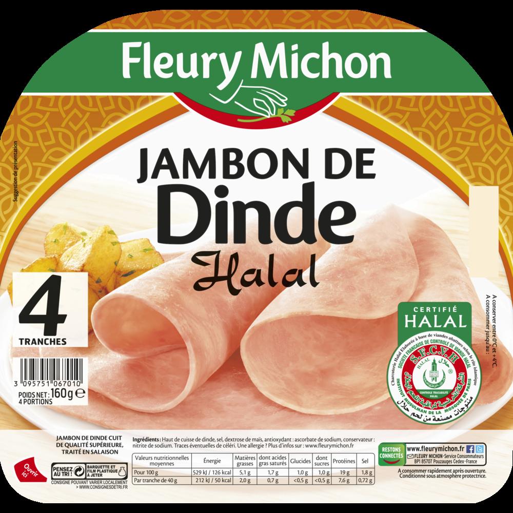 Jambon de dinde Halal, Fleury Michon (4 tranches, 160 g)