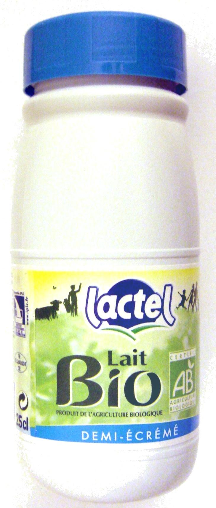 Lait demi-écrémé BIO, Lactel (25 cl)