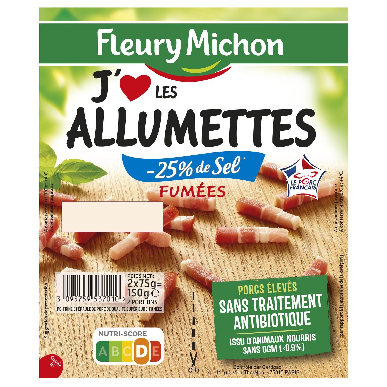 """Lardons fumés """"j'aime"""" taux de sel réduit, Fleury Michon (2 x 75 g)"""