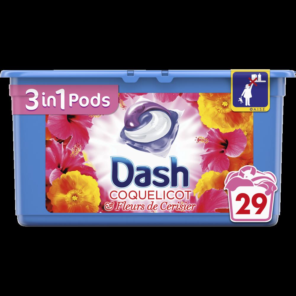 Lessive écodose 3 en 1 coquelicot et fleurs de cerisier, Dash (x 29)