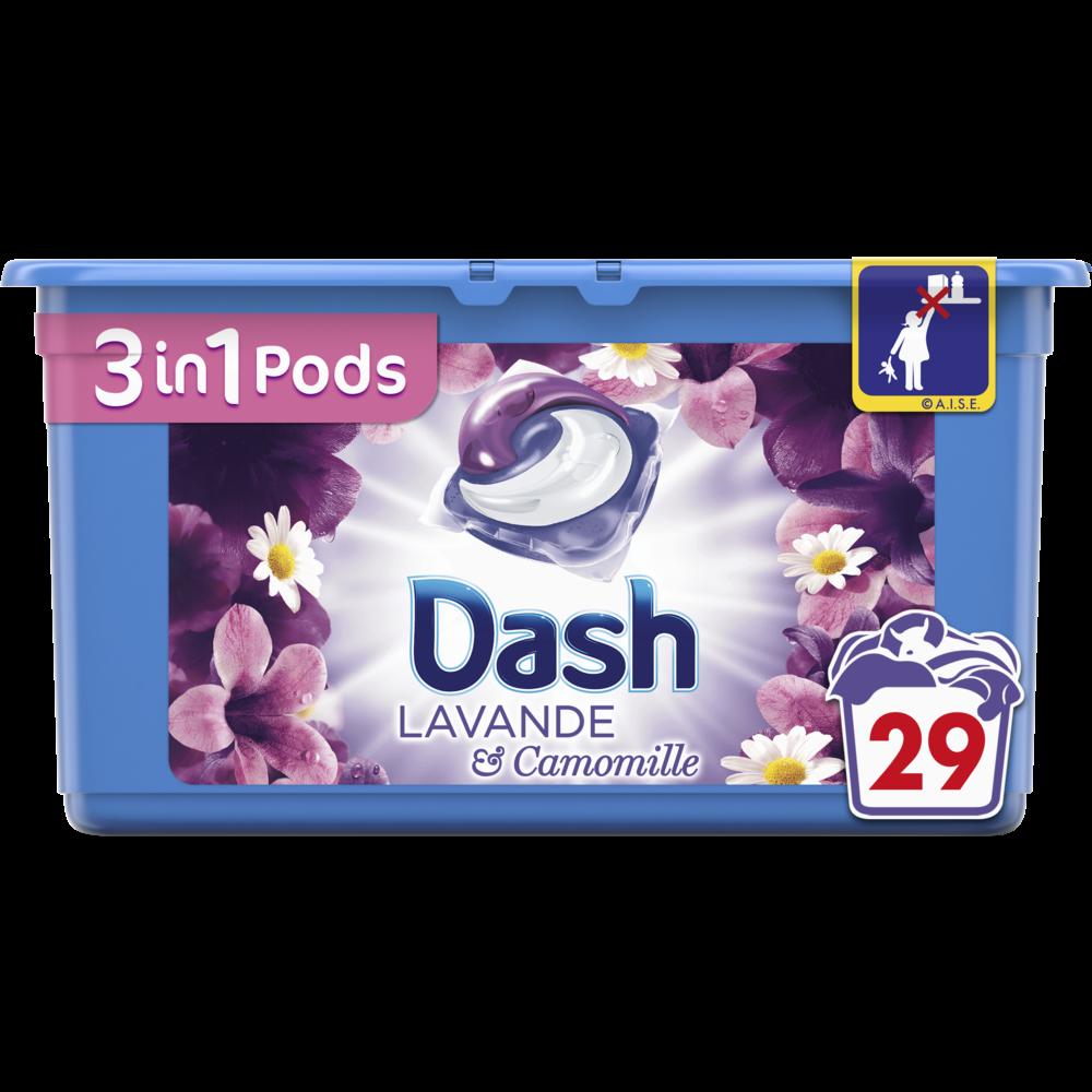 Lessive écodose 3 en 1 lavande et camomille, Dash (x 29)