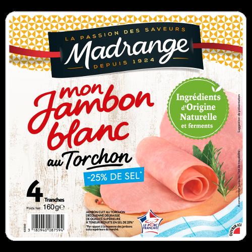 Mon jambon blanc au torchon -25% de sel, Madrange (4 tranches, 160 g)