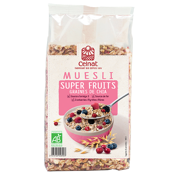 Muesli super fruits graines de chia BIO, Celnat (375 g)