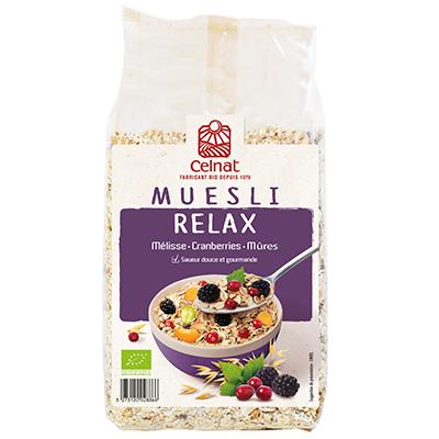 Muesli relax (mélisse, cranberries, mûres) BIO, Celnat (375 g)
